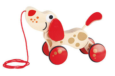 HAPE E0352 Walk-A-Long Puppy 30th Anniversary Edition Wooden Toy Toddler 12m+