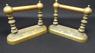 set of 2 victorian Vintage brass Fireplace Tool Rests