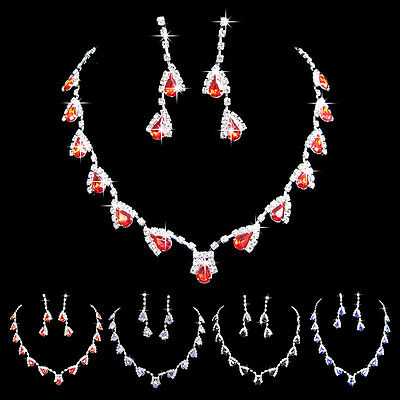 Ladies Crystal Bridal Wedding Party Jewelry Sets Necklace & Earrings For Women