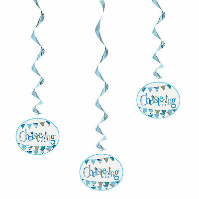 3 Boy's Blue Baby Bunting Christening Party Hanging Foil Swirl Decorations