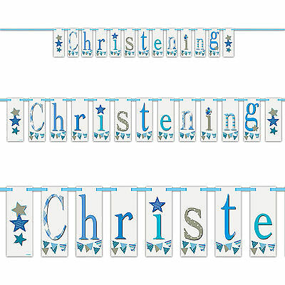 7ft Boy's Blue Baby Bunting Christening Party Block Banner Decoration