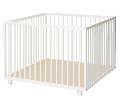 New Babydan White Wooden Comfort Baby Playpen With 2 Base Height Positions