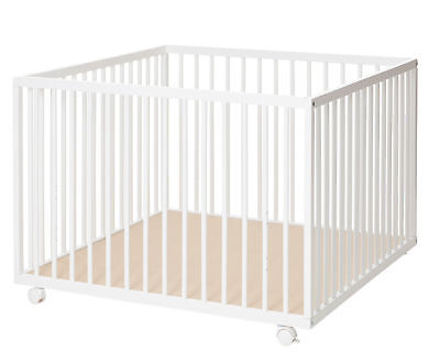 New Babydan White Wooden Felix Baby Playpen With 2 Base Height Positions