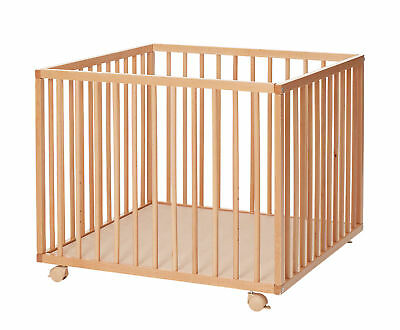 New Babydan Natural Wooden Felix Baby Playpen With 2 Base Height Positions
