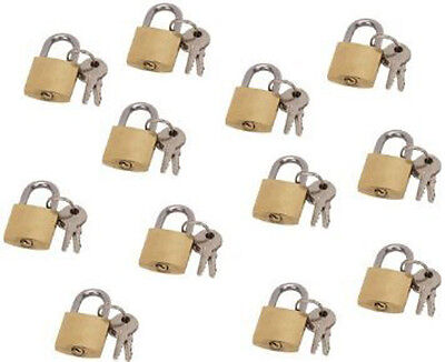 LOT OF 12 small brass padlock (20MM) Mini Tiny Lock Box Jewelry drawer dozen