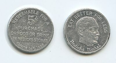 M251 - USA Nedicks Nickel Store Five Cents 5c Tokens Exp 1959 NYC Restaurant