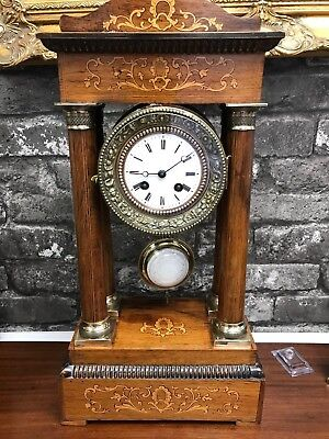 A late Victorian rosewood and inlaid eight day Portico clock Ref Adam