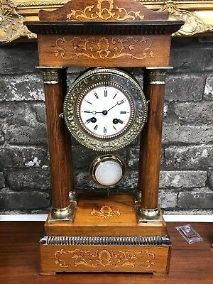 A working late Victorian rosewood and inlaid eight day Portico clock Ref Adam