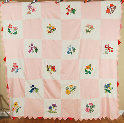AMAZING Vintage 30's Floral Sampler Antique Quilt Top ~DETAILED HAND EMBROIDERY!