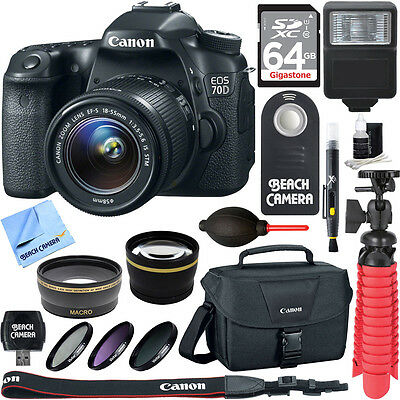 Canon EOS 70D CMOS DSLR Camera w/EF-S 18-55mm F3.5-5.6 IS STM Memory & Flash Kit
