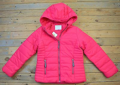 New Girls Pretty Showerproof  Hooded Quilted Jacket Coat Age 11 - 12