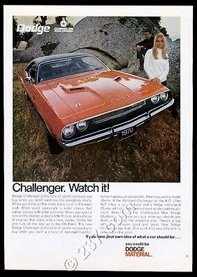 1970 Dodge Challenger RT R/T red car photo vintage print ad