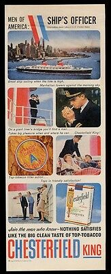 1959 S.S. United States & ship officer photo Chesterfield cigarettes print ad