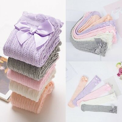 Toddler Kids Baby Girl Knee High Long Socks Lace Bow Cotton Warm Stockings YG