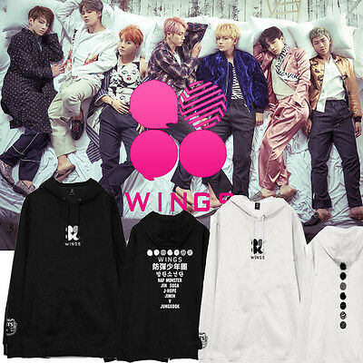 Kpop BTS WINGS Sweatershirt Bangtan Boys Jung Kook Cap Hoodie Sweater Suga Jimin