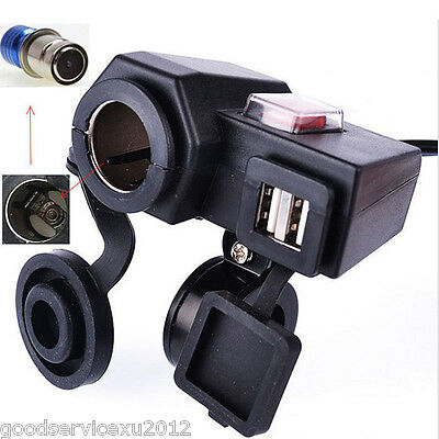 Multifunction 5V 2.1A Motorcycle Cigarette Lighter Dual USB Socket Phone Charger