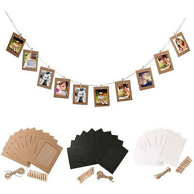 DIY Hanging Frame Album Rope Clip 10 Set Paper Photo Wall Picture Set Home Decor