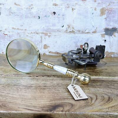 Barauna Antique Vintage Magnifying Glass 10cm Gold Brass Handle Map Nautical