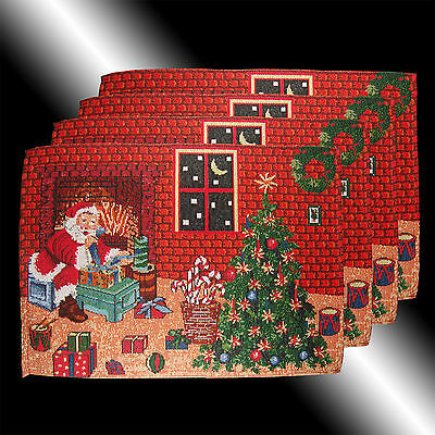 Set Of 4 Vintage Chic Red Christmas Santa Claus Tapestry Table Linen Placemats