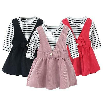2PCS Toddler Kids Baby Girls Outfits Long Sleeve Tops +TUTU Dress Clothes Set