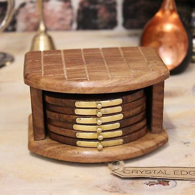 Godavari Set of 6 Wooden Coasters with Brass Detailing Brick Design Holder Tea