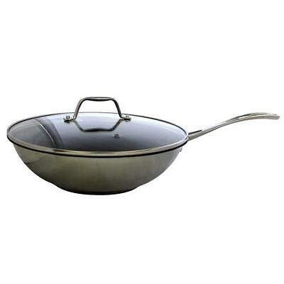 Royal VKB 28cm Wok Stainless Steel Non-Sick Glass Lid Induction Electric Gas
