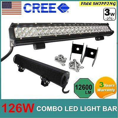 20in 126W CREE Spot Flood Combo LED Work Light Bar Offroad SUV Boat 4WD Fog Lamp
