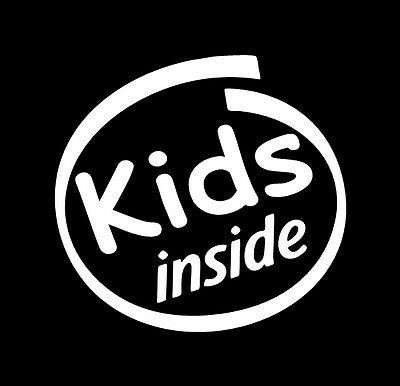 VINYL DECAL - KIDS INSIDE - family sticker baby on board car window bench chair