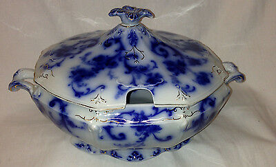 "Ridgways England Gainsborough Covered Tureen 11 1/4"" Flow Blue Gold Accents"