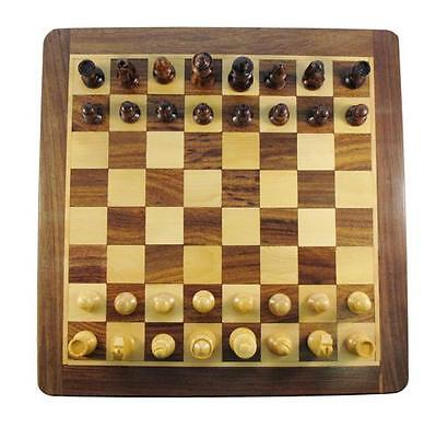 "10"" Wooden Magnetic Hand Made Chess Board Set with Storage Draw"