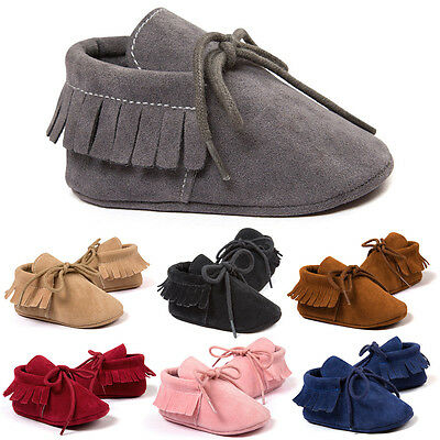 Infant Newborn Baby Boy Girl Toddler Tassel Moccasin Crib Shoes Soft Sole Boots