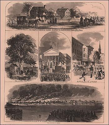 NORFOLK, VIRGINIA, Civil War Views, antique engraving, original 1868