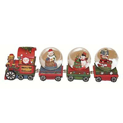 Christmas Decoration Snowman Snow Globe Train 3 Carriages