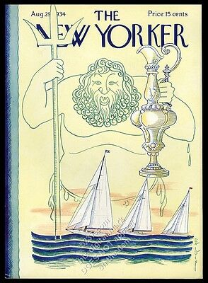 August 25 1934 New Yorker magazine framing cover America's Cup yacht race trophy