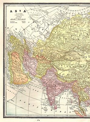 1891 Antique ASIA Map Beautiful Vintage Map China India Russian Empire 3198
