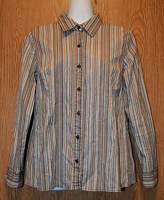 Womens Brown Striped Motherhood Maternity Long Sleeve Shirt Size Medium excellen