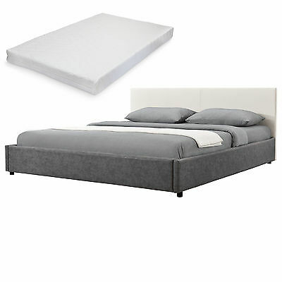 My.Bed Upholstered Bed+Mattress 140x200cm Cream/grey Textile+imitation leather