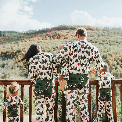 Family Matching Christmas Tree Pajamas Set Adult Baby Kids Girl Sleepwear Pj