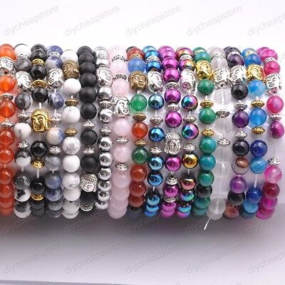 8MM Natural Gemstone Round Beads Buddha Head Stretchy Bracelets Assorted Stones
