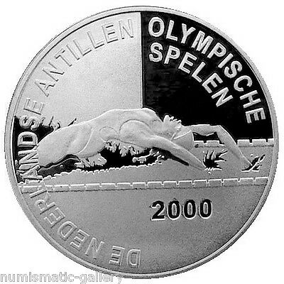 NETHERLANDS ANTILLES 25 Gulden 2000 Silver PF OLYMPICS GAMES - SWIMMING