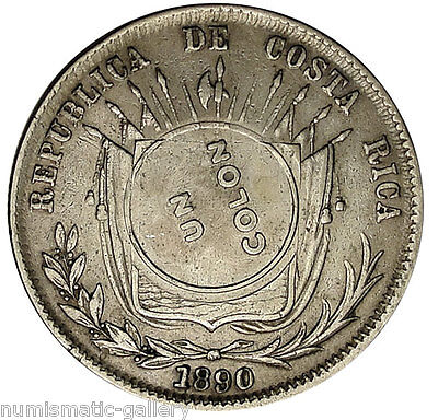 COSTA RICA 1 Colon 1890(1923) GW VF/XF Counterstamped on 50 Centavos