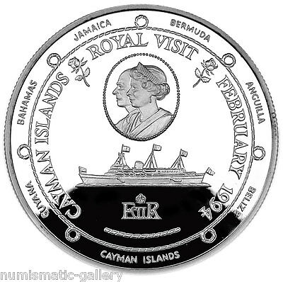 CAYMAN ISLANDS 1 DOLLAR 1994 Silver PF ROYAL VISIT - YACHT 'BRITANNIA'
