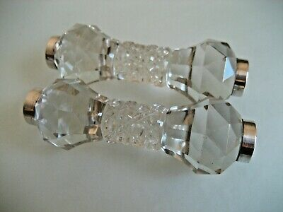 Antique Pair Sterling Silver & Cut Crystal Knife Rests