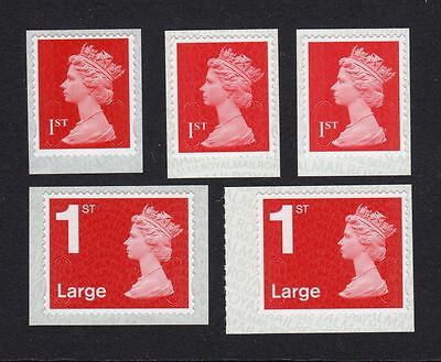 OCT 2016 M16L DARK RED Set of 5v Machin SINGLE STAMPS 1st and 1st Large