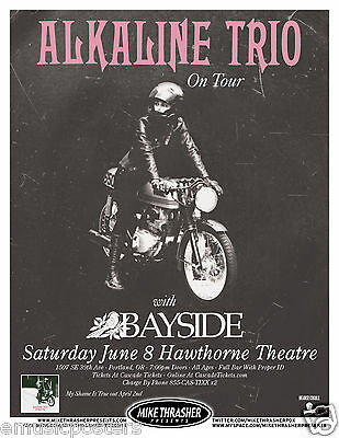 "ALKALINE TRIO/ BAYSIDE ""ON TOUR"" 2013 PORTLAND CONCERT POSTER- Punk, Alternative"