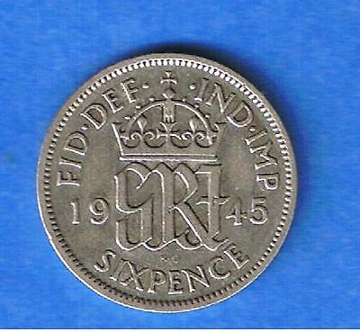 GREAT BRITAIN KING GEORGE VI 1945 Sixpence 6d Silver Good Grade