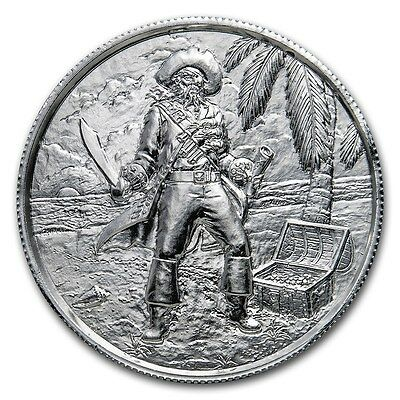 2 oz 999 Silber Silbermedaille The Captain Pirat Totenkopf Ultra High Relief