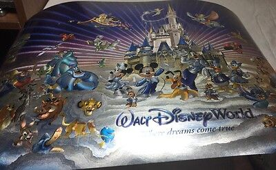 "Disney World Character Poster - Dreams Come True 14x35"" NEW holograph picture"