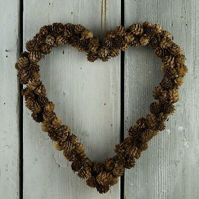 Natural Pine Cone Heart Christmas Wreath - 36cm - Shabby Chic Decoration