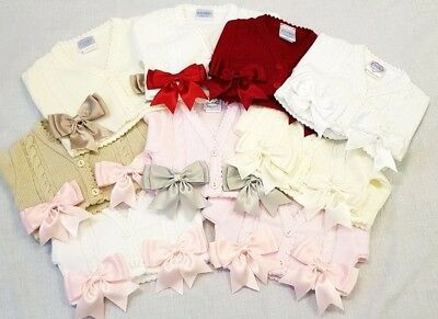 NEW Girls Spanish Romany Bow Bolero Cardigan Pink White Red Ivory Beige 0-4 YR